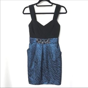 New Alexia Admor Beaded Sheath Metallic Dress XS